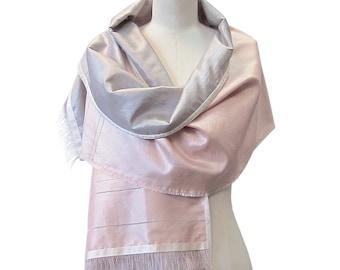 Blush Pink Scarf, Silver Shawl - Handwoven Silk