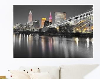 Cleveland Touch of Color Skylines Poster