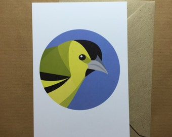 Siskin bird greeting card - blank inside