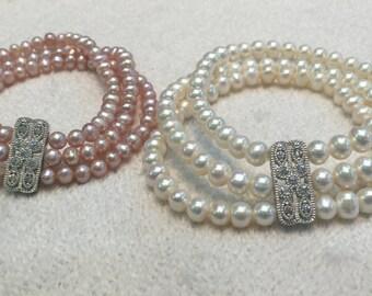 Triple strand oearl bracelets
