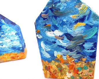 Painted Wooden House Sculpture- Impressionistic Swirling Sky, Oil Paint on Wood, Prairie Sky Tabletop Decor