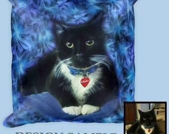 Custom Cat Pillow-Custom Pet Art-Pet Memorial-Cat Lover Gift-Personalized Pet Pillow