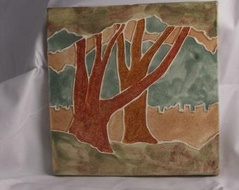 Ceramic Landscape Tile- Two Trees -Moss
