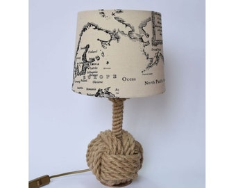 Bosun 02 night lamp made from jute rope, nautical lamp, marine lamp, marine bedroom, jute lamp, beach house night light, nautical bedroom,