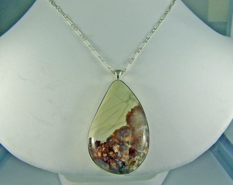Willow Creek Jasper Pendant set in sterling silver, natural stone. necklace