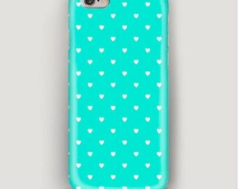 iPhone Case Heart Pattern, iPhone 6 Case Mint, iPhone 6S Case, iPhone 6 Plus Case, iPhone 5s Case, iPhone 5 Case, iPhone 4 Case, Phone Case