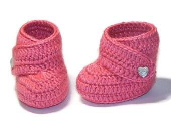 Pink baby booties,baby shoes,baby booties, crochet baby booties,baby boots, baby girl booties,Baby newborn booties, booties