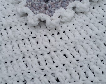 PURITY! hand made crochet baby/toddler afghan/blanket/christening ,white ,sparkle