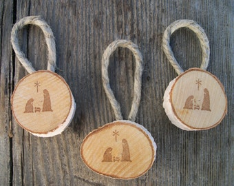 Nativity Birch Ornaments, Set of 3, Rustic Christmas Ornaments, Rustic Gift Tags, Christmas Gifts, Christian Gift, Holiday Decor