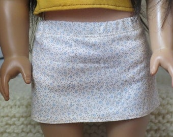 Beige Floral Mini Skirt for 18inch Doll