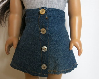 DISCOUNT Front Button Denim Skirt for American Girl Doll
