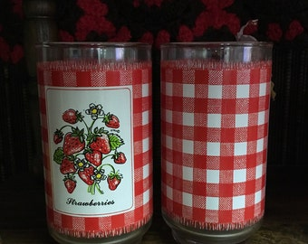 Vintage Strawberry and Plaid Tumblers