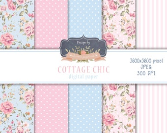 SALE Cottage Chic digital paper pack