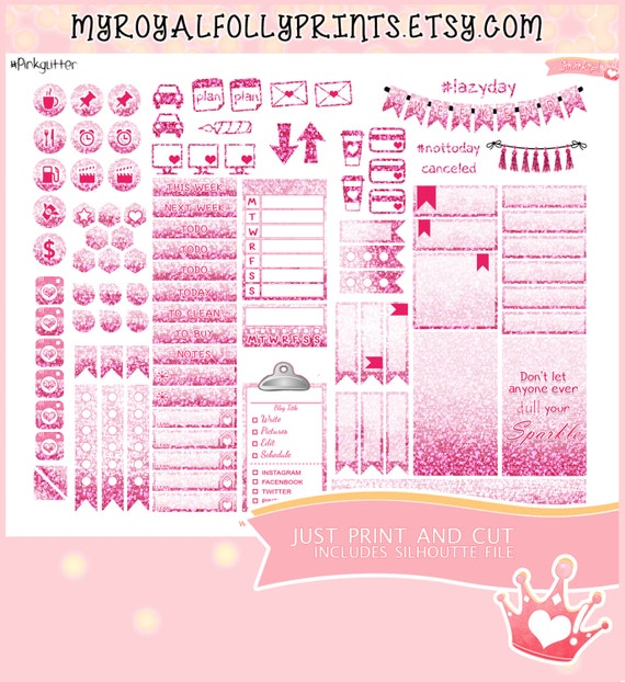 Pink Glitter Weekly Kit | Printable Planner Stickers | Happy Planner | Instant Digital Download with Silhouette file