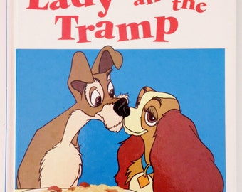Walt Disney Lady and the Tramp Children's Book (Hardcover, 1988) Retro Vintage