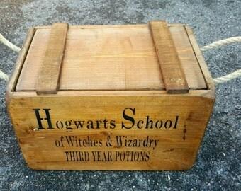Antique Vintage Hogwarts School Harry Potter Wooden Boxes Crates~Trugs