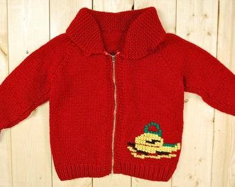 Vintage 1950's/60's Children's Cowichan Sweater / Snowmobile / Retro Collectable Rare
