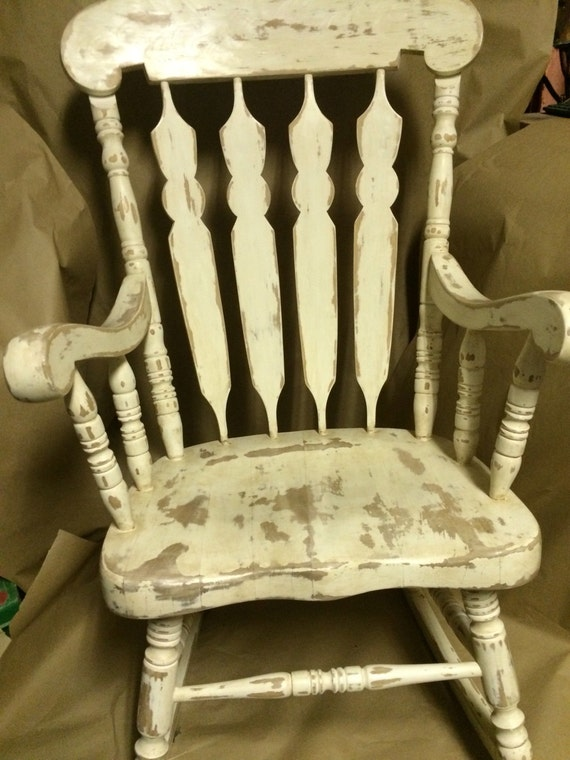 Distressed White Vintage Wooden Rocking Chair By GarageGalore