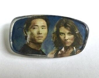 Very Unique! Eyeglass Lens Pin/Button/Brooch Featuring Glenn & Maggie