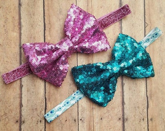 Turquoise & Light Purple Sequin Headbands