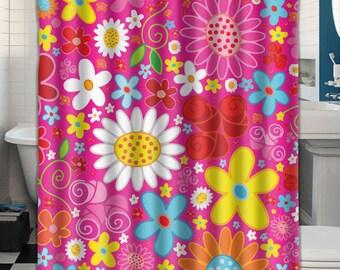 Custom Shower Curtain Pink Flowers 043577