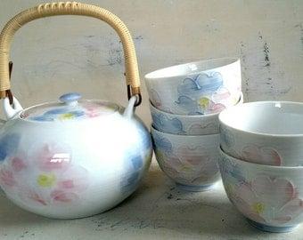 Asian Teapot,  Sake Set   Pastel Teapot with Wicker handle, Sake Cups.  Floral teapot