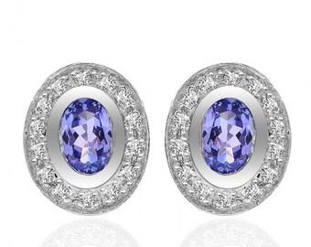 1.20 Carat Oval Cushion Tanzanite Diamond Frame Stud Earrings 14K White Gold