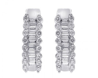 1.00 Carat Round and Baguette Cut Diamond Hoop Earrings 14K White Gold
