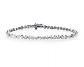 0.90 Carat G-SI1 Round Cut Diamond Bezel Tennis Bracelet 14K White Gold