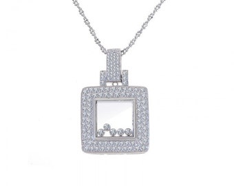 1.50 Carat Diamond Happy Diamonds Square 14K White Gold Pendant
