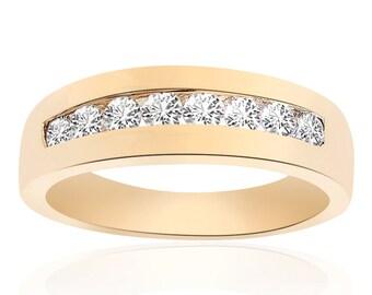 0.65 Carat Round Cut Brilliant Diamond Wedding Band 14K Yellow Gold