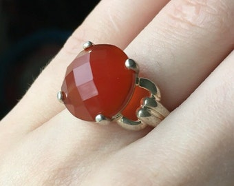 Burnt Orange Carnelian Gemstone 925 Sterling Silver Burnt Statement Ring or Engagement Ring (Size 7)