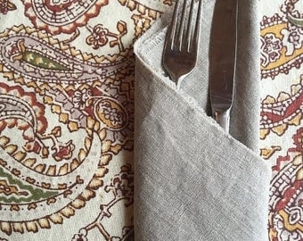 Natural linen napkin.