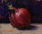"""RESERVED for SimonCo~ Original Oil Painting; Large Red Onion; 6"""" x 8"""""""