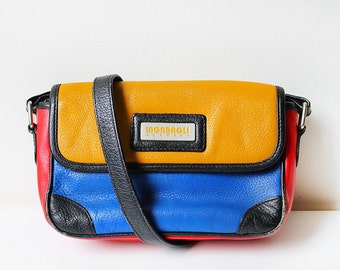 Leather Shoulder Bag, 1980s Purse, Vintage Inabagli Germany Design, Genuine Leather