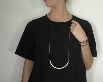 Long vintage necklace/geometry design/chain/brass/bronze/gold/chain necklace/double chain
