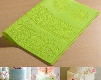 DIY Lace Flower Mat Embossing Fondant Cake Mold