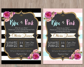 Gender reveal invitation, Baby reveal invitations, Blue or pink what do you think, Gender Reveal Party Invitation, boy or girl, pink or blue