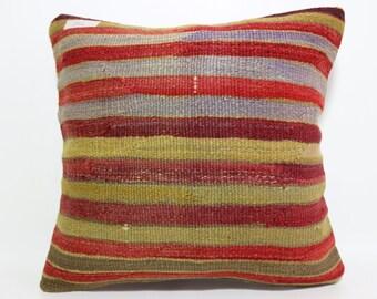 floor pillow 16x16 boho pillow striped pillow decorative pillow  multicolour Pillow home decor sofa pillow Turkish kilim pillow SP4040-844