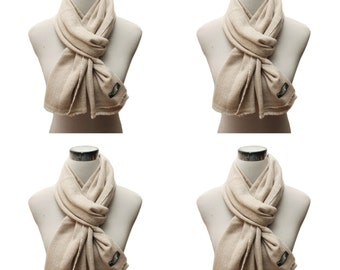 Diamond Beige 100% Pure Cashmere Scarf Muffler Light and Warm for Winter