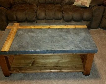 Concrete Coffee Table (Rustic / Farmhouse Furniture)