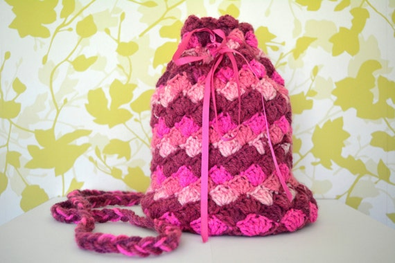handmade bag // crochet bag // wool bag // sholder bag // pink bag ...