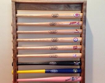 10 Mini Baseball Bat Display Holder Rack – Table top or wall Mount – Holds 10 Mini Bats