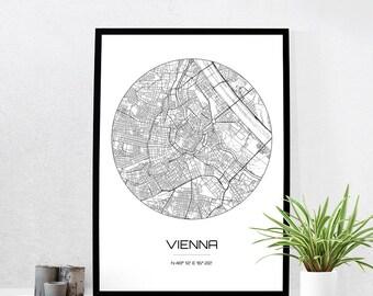 Vienna Map Print - City Map Art of Vienna Austria Poster - Coordinates Wall Art Gift - Travel Map - Office Home Decor