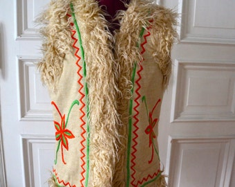 Vintage Late 1960s hippie waistcoat with embroidery