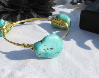 Large Turquoise Nugget Gold toned Wire Wrapped Bangle Bracelet