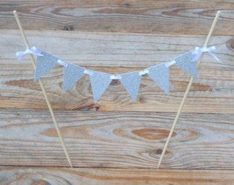 Silver Glitter Cake Bunting. Cake Bunting. Baby Shower. Wedding. Engagement. Bunting. Silver Cake Bunting. Wedding Cake Bunting. Birthday