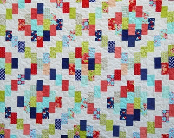 Modern Twin Quilt in Red, Blue and Green, Girl Quilt, Brick Cottage Lane, Handmade Quilt for Sale