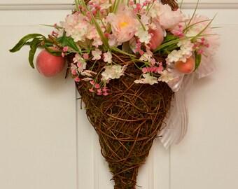 Pink Wreath Basket // Wreath Basket // Fruit and Flower Basket // Grapevine Basket // Carnation and Peach Basket // Pink Silky Bow // Wreath