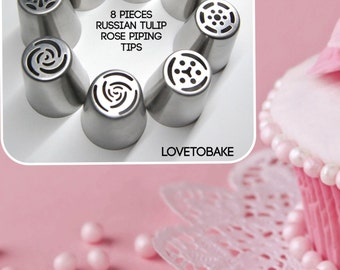 Russian piping tips nozzles set of 8 nozzles Free Shipping tulip rose nozzles tips  free  shipping    buttercream frosting